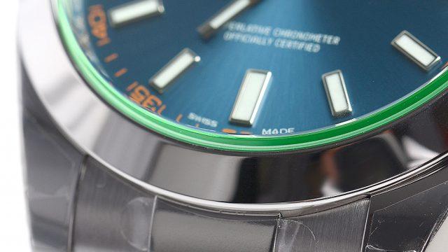 グリーンのガラスが採用されたミルガウス116400GV 王冠透かしが無い