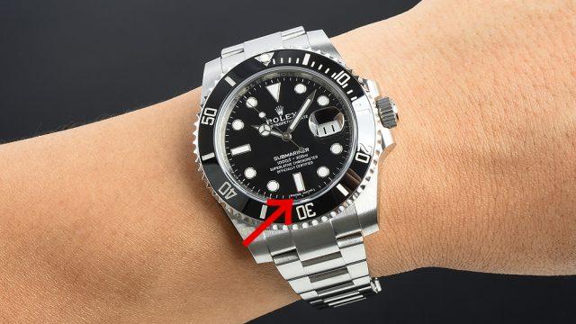 腕に付けた状態のサブマリーナーデイト116610LN この大きさでは透かしは見えにくい